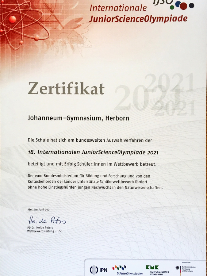 Schulzertifikat von den JuniorScienceOlympiade